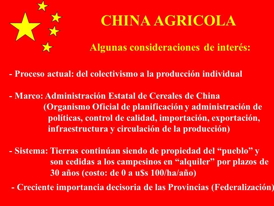CHINA AGRICOLA Algunas consideraciones de interés: - Proceso actual: del colectivismo a la producción individual - Marco: Administración Estatal de Ce