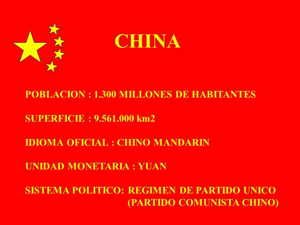 POBLACION : 1.300 MILLONES DE HABITANTES SUPERFICIE : 9.561.000 km2 IDIOMA OFICIAL : CHINO MANDARIN UNIDAD MONETARIA : YUAN SISTEMA POLITICO: REGIMEN