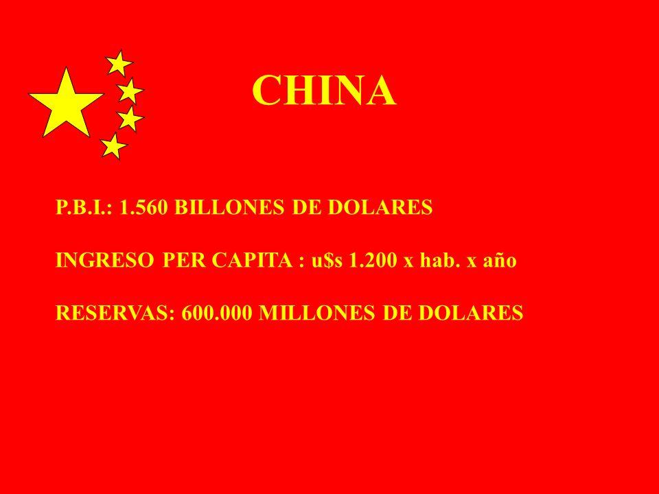 P.B.I.: 1.560 BILLONES DE DOLARES INGRESO PER CAPITA : u$s 1.200 x hab. x año RESERVAS: 600.000 MILLONES DE DOLARES CHINA