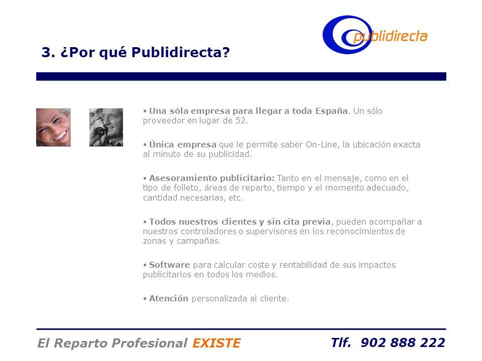 Tlf. 902 888 222 El Reparto Profesional EXISTE Una sóla empresa para llegar a toda España. Un sólo proveedor en lugar de 52. Única empresa que le perm