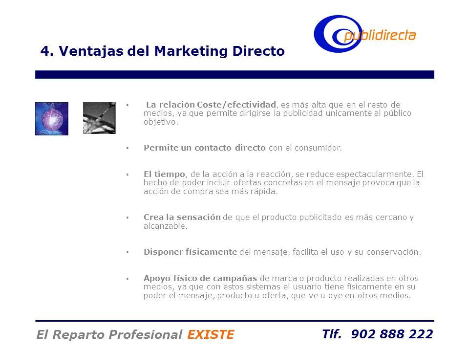 Tlf. 902 888 222 El Reparto Profesional EXISTE 4. Ventajas del Marketing Directo La relación Coste/efectividad, es más alta que en el resto de medios,