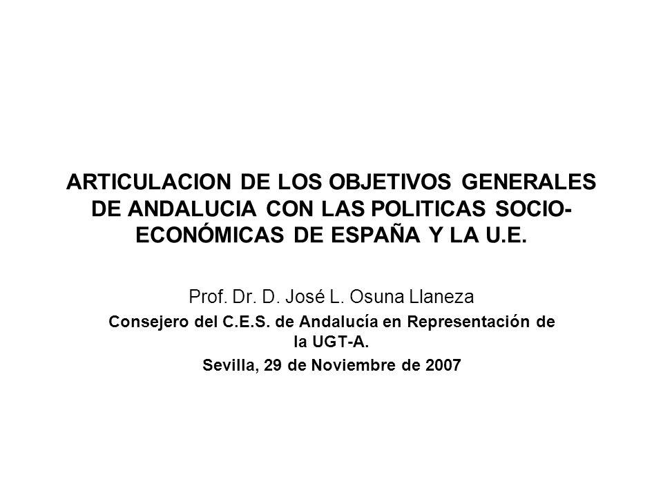 ARTICULACION DE LOS OBJETIVOS GENERALES DE ANDALUCIA CON LAS POLITICAS SOCIO- ECONÓMICAS DE ESPAÑA Y LA U.E.