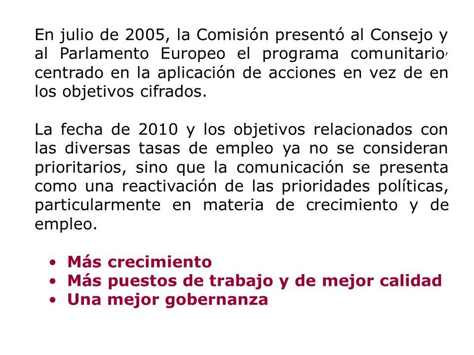 En julio de 2005, la Comisión presentó al Consejo y al Parlamento Europeo el programa comunitario, centrado en la aplicación de acciones en vez de en los objetivos cifrados.