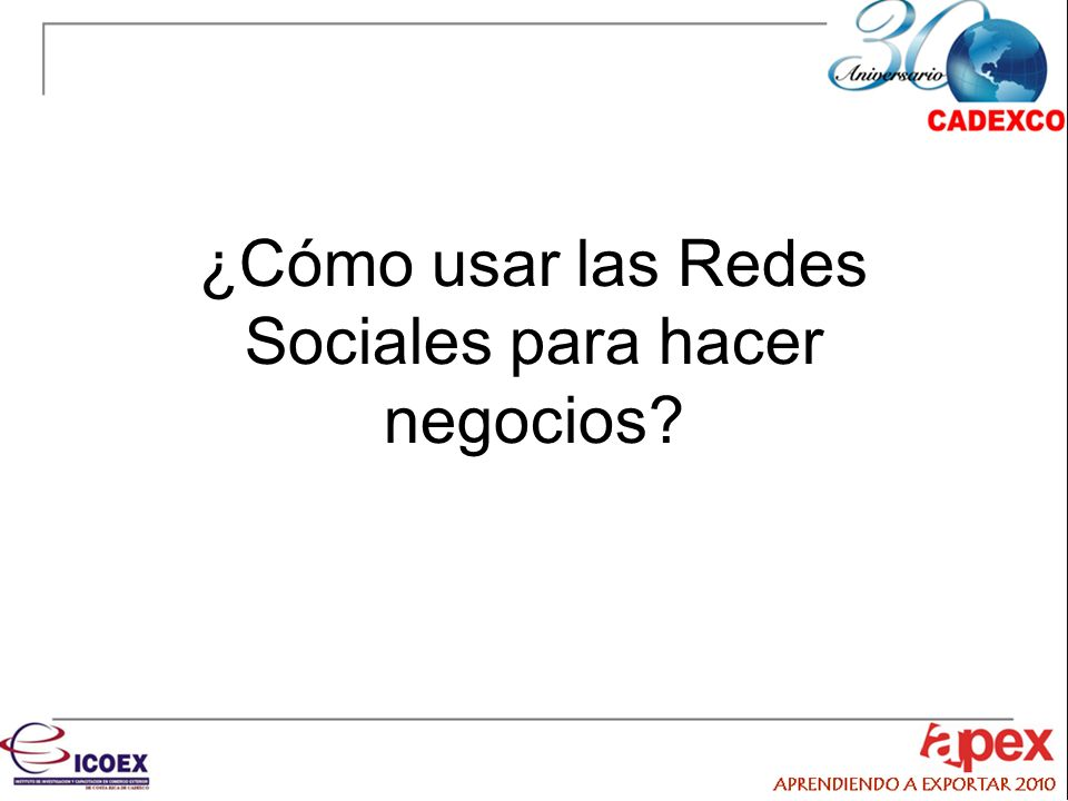 Redes Sociales más importantes En Costa Rica: –Facebook –Hi5 –Twitter –Otras En México: –Facebook –Hi5 –Metroflog –MySpace –Twitter
