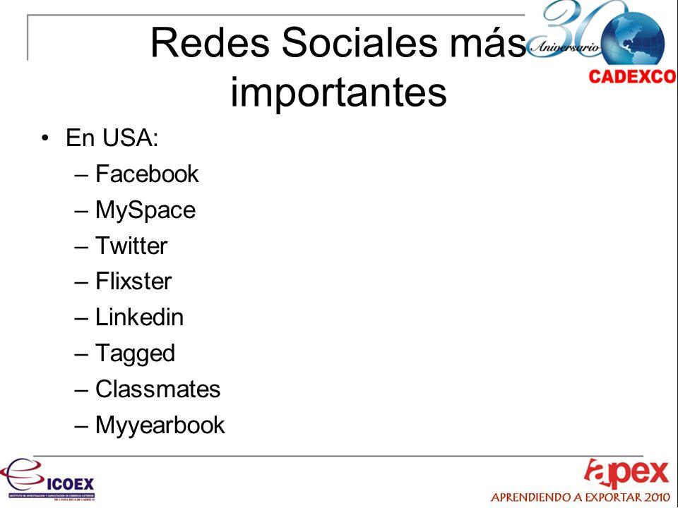 Redes Sociales más importantes En USA: –Facebook –MySpace –Twitter –Flixster –Linkedin –Tagged –Classmates –Myyearbook
