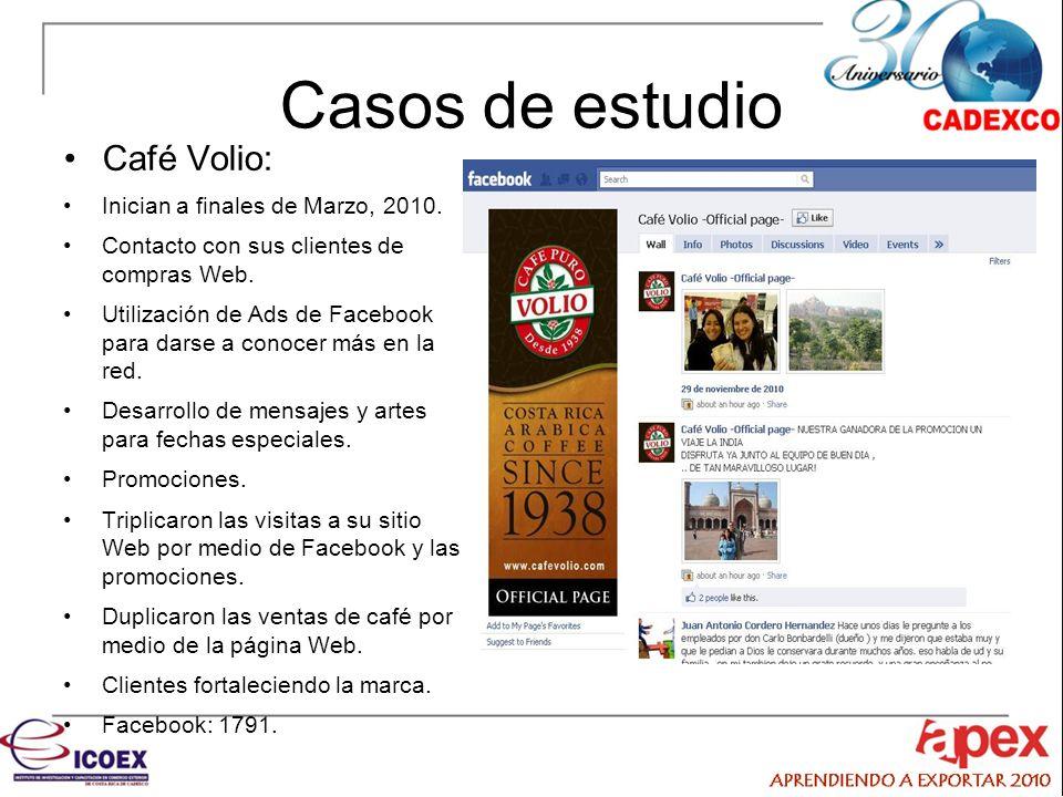 Casos de estudio Café Volio: Inician a finales de Marzo, 2010.