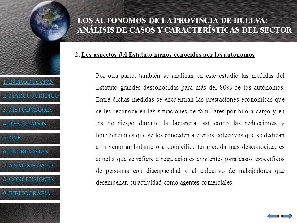 LOS AUTÓNOMOS DE LA PROVINCIA DE HUELVA: ANÁLISIS DE CASOS Y CARACTERÍSTICAS DEL SECTOR 2. Los aspectos del Estatuto menos conocidos por los autónomos