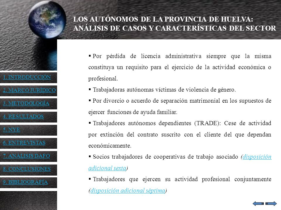 LOS AUTÓNOMOS DE LA PROVINCIA DE HUELVA: ANÁLISIS DE CASOS Y CARACTERÍSTICAS DEL SECTOR Por pérdida de licencia administrativa siempre que la misma co