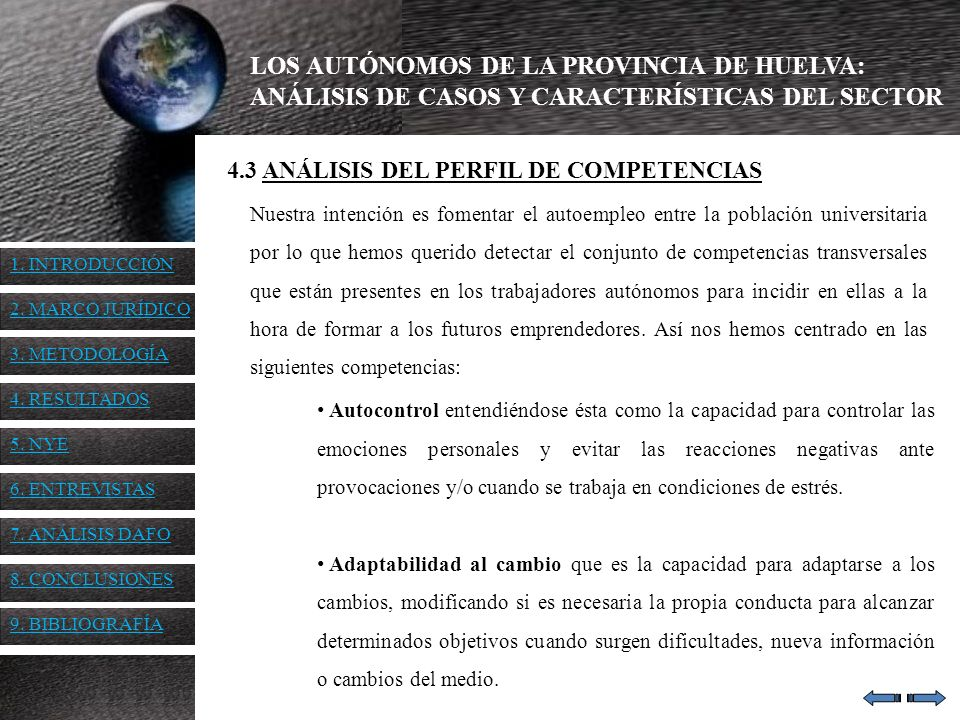 LOS AUTÓNOMOS DE LA PROVINCIA DE HUELVA: ANÁLISIS DE CASOS Y CARACTERÍSTICAS DEL SECTOR 4.3 ANÁLISIS DEL PERFIL DE COMPETENCIAS Autocontrol entendiénd