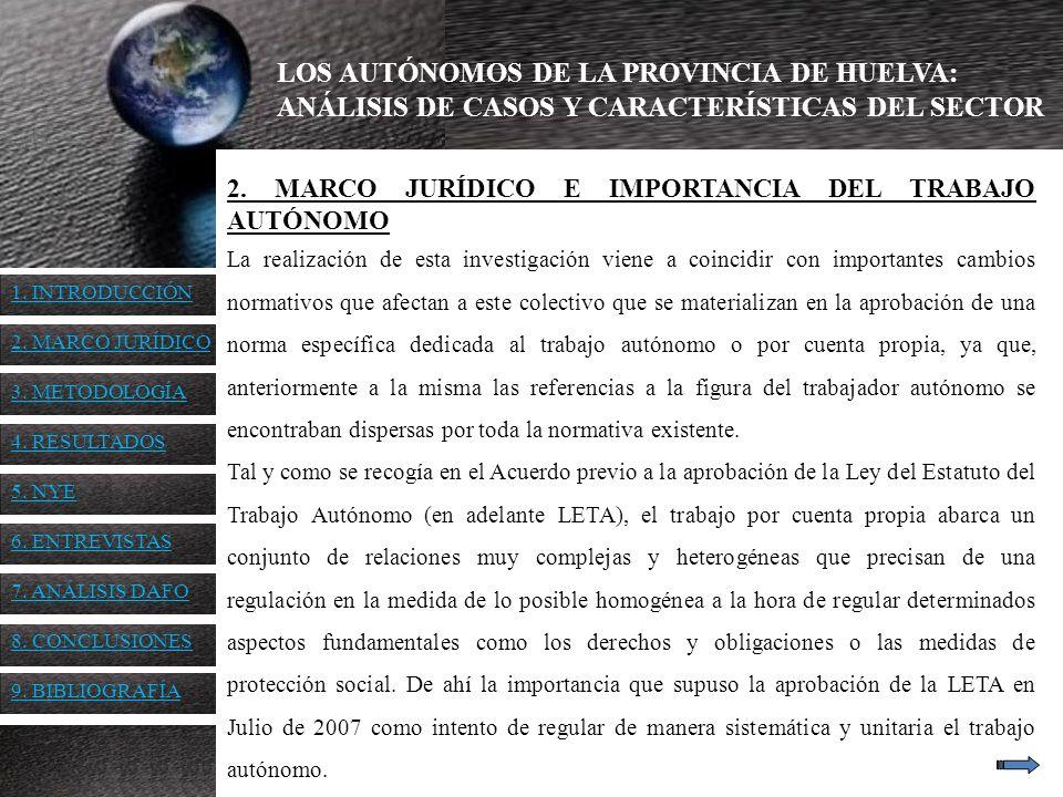 LOS AUTÓNOMOS DE LA PROVINCIA DE HUELVA: ANÁLISIS DE CASOS Y CARACTERÍSTICAS DEL SECTOR 6.