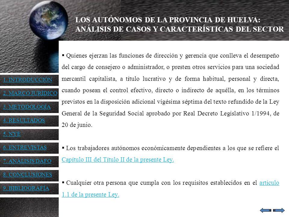 LOS AUTÓNOMOS DE LA PROVINCIA DE HUELVA: ANÁLISIS DE CASOS Y CARACTERÍSTICAS DEL SECTOR 4.