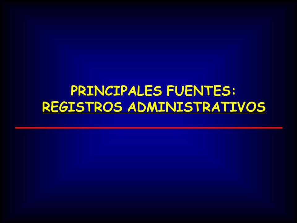 PRINCIPALES FUENTES: REGISTROS ADMINISTRATIVOS