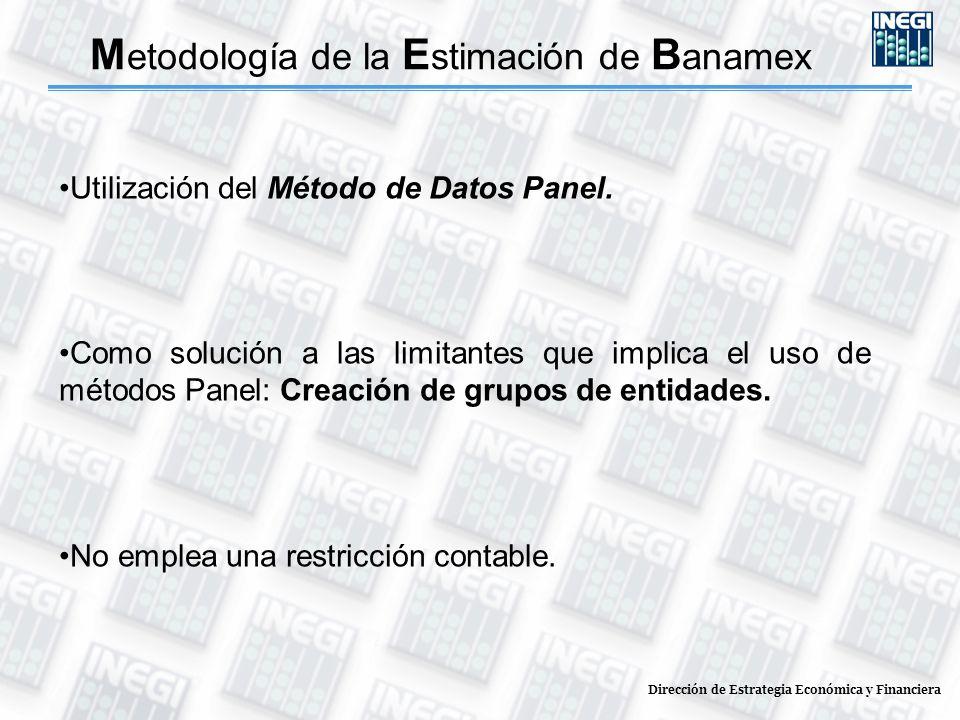 Dirección de Estrategia Económica y Financiera M etodología de la E stimación de B anamex Utilización del Método de Datos Panel. Como solución a las l