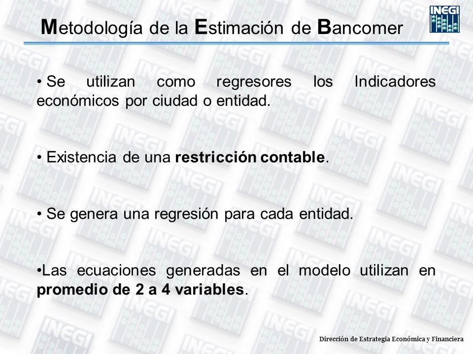Dirección de Estrategia Económica y Financiera Se utilizan como regresores los Indicadores económicos por ciudad o entidad. Existencia de una restricc