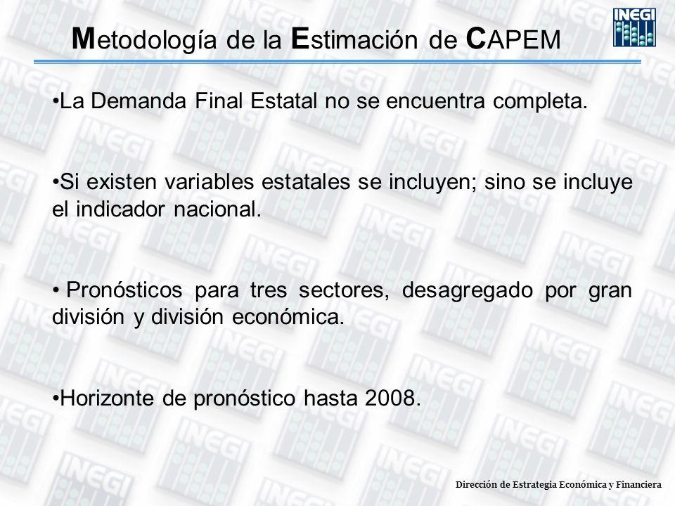 Dirección de Estrategia Económica y Financiera M etodología de la E stimación de C APEM La Demanda Final Estatal no se encuentra completa. Si existen