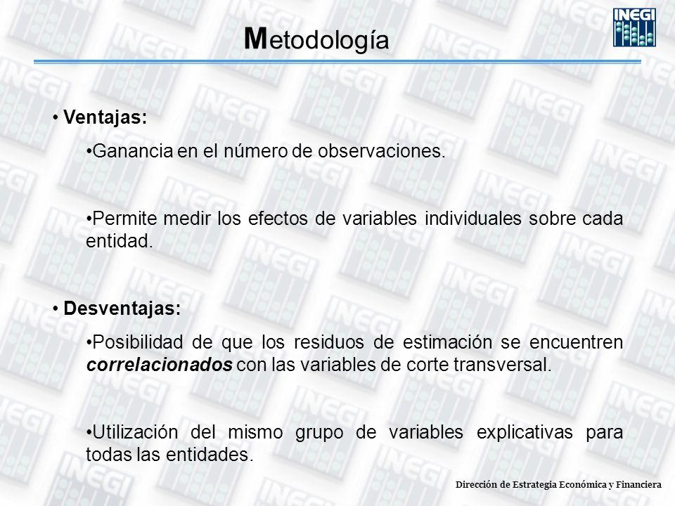 Dirección de Estrategia Económica y Financiera M etodología Ventajas: Ganancia en el número de observaciones. Permite medir los efectos de variables i