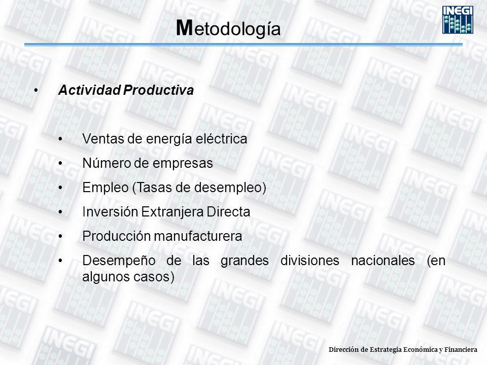 Dirección de Estrategia Económica y Financiera M etodología Actividad Productiva Ventas de energía eléctrica Número de empresas Empleo (Tasas de desempleo) Inversión Extranjera Directa Producción manufacturera Desempeño de las grandes divisiones nacionales (en algunos casos)