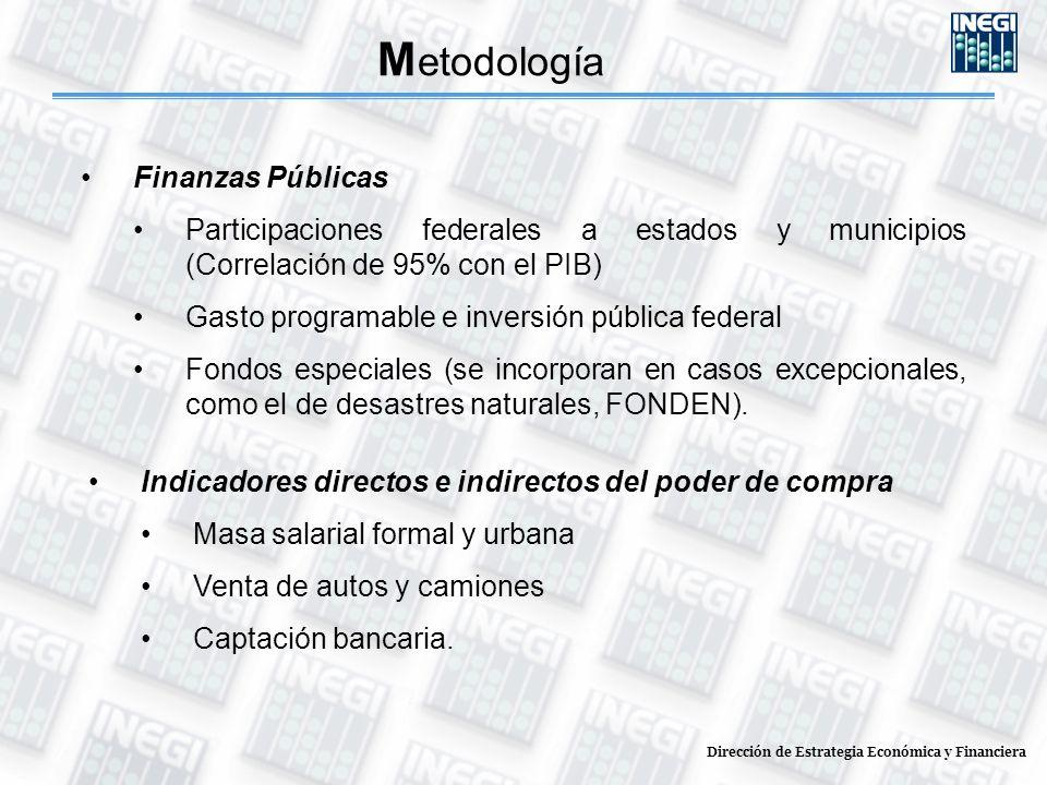Dirección de Estrategia Económica y Financiera M etodología Finanzas Públicas Participaciones federales a estados y municipios (Correlación de 95% con el PIB) Gasto programable e inversión pública federal Fondos especiales (se incorporan en casos excepcionales, como el de desastres naturales, FONDEN).