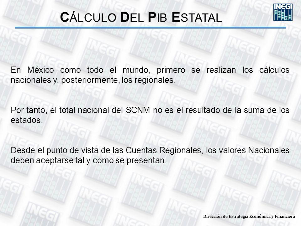 Dirección de Estrategia Económica y Financiera C ÁLCULO D EL P IB E STATAL En México como todo el mundo, primero se realizan los cálculos nacionales y
