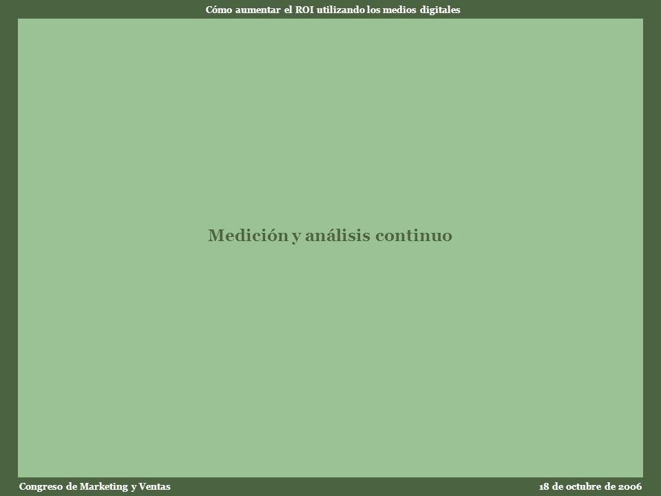 Cómo aumentar el ROI utilizando los medios digitales Congreso de Marketing y Ventas18 de octubre de 2006 Medición y análisis continuo