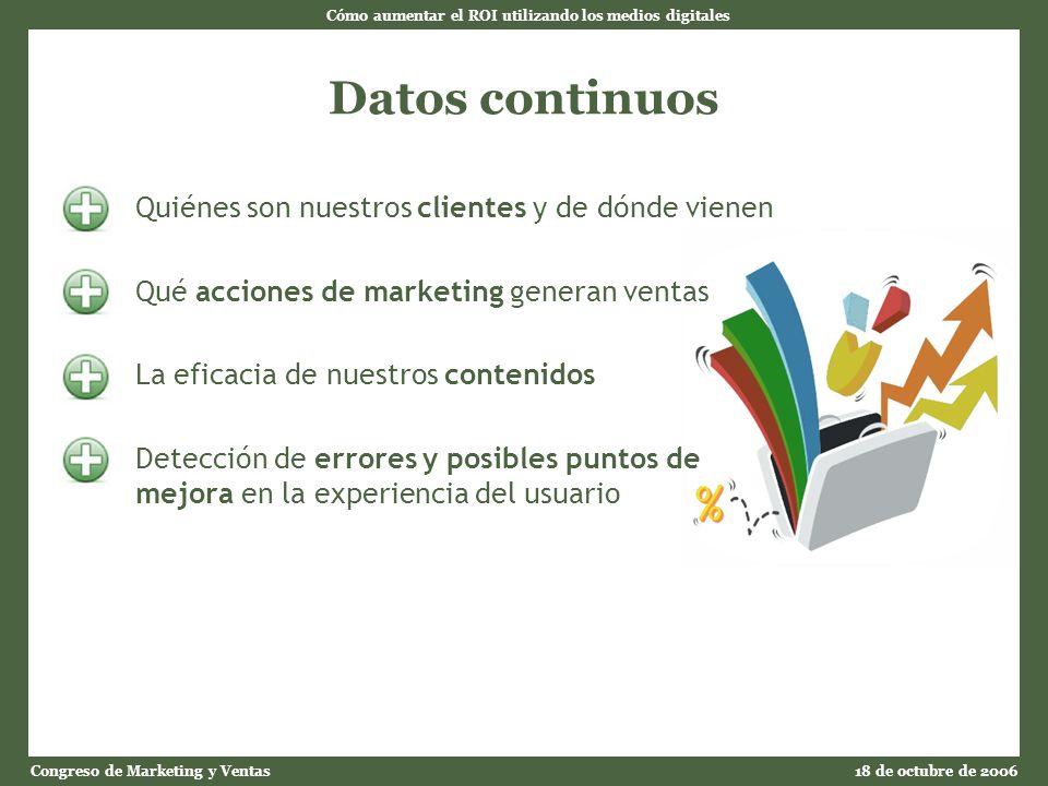 Cómo aumentar el ROI utilizando los medios digitales Congreso de Marketing y Ventas18 de octubre de 2006 Datos continuos Quiénes son nuestros clientes y de dónde vienen Qué acciones de marketing generan ventas La eficacia de nuestros contenidos Detección de errores y posibles puntos de mejora en la experiencia del usuario