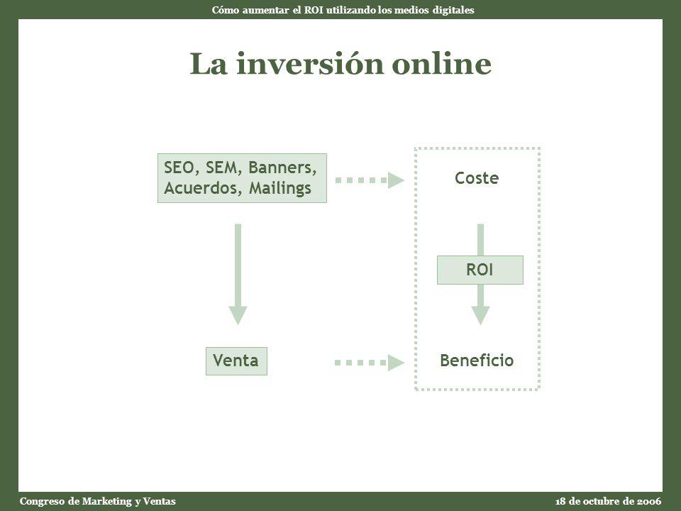 Cómo aumentar el ROI utilizando los medios digitales Congreso de Marketing y Ventas18 de octubre de 2006 La inversión online SEO, SEM, Banners, Acuerdos, Mailings Venta Coste Beneficio ROI