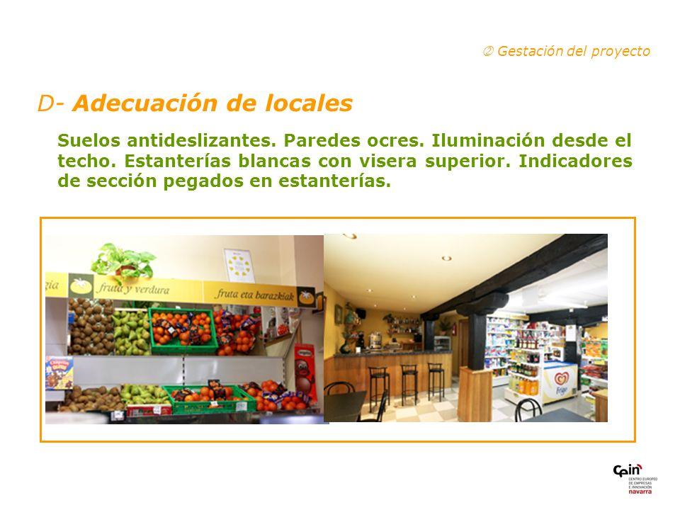D- Adecuación de locales Gestación del proyecto Suelos antideslizantes.