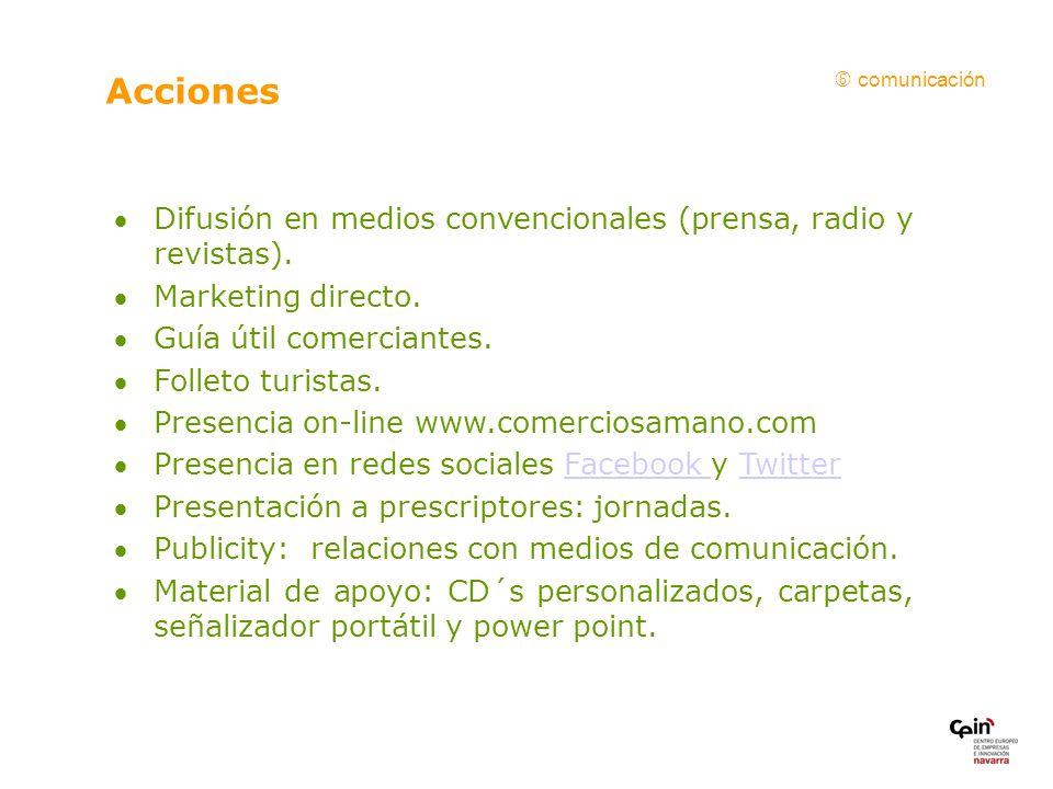 Difusión en medios convencionales (prensa, radio y revistas).