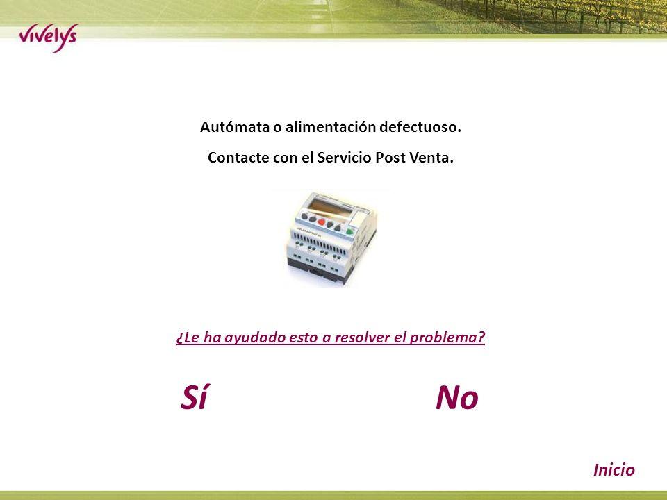 Autómata o alimentación defectuoso. Contacte con el Servicio Post Venta.