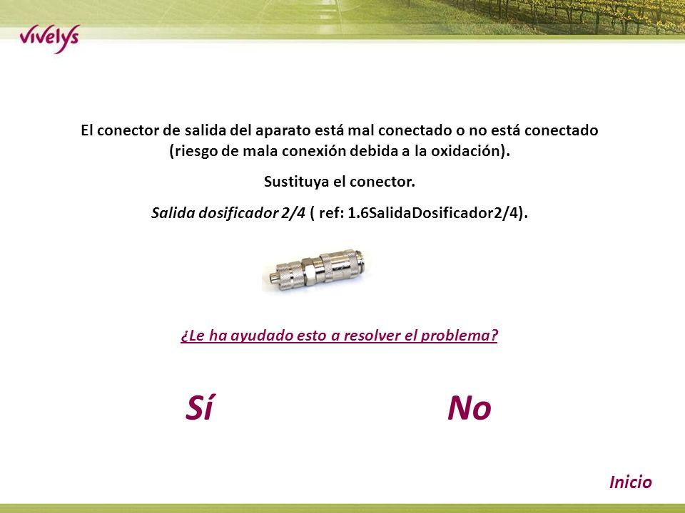 El conector de salida del aparato está mal conectado o no está conectado (riesgo de mala conexión debida a la oxidación).