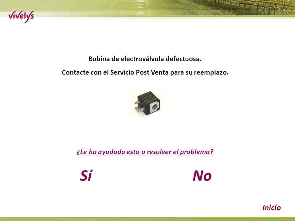 Bobina de electroválvula defectuosa. Contacte con el Servicio Post Venta para su reemplazo.