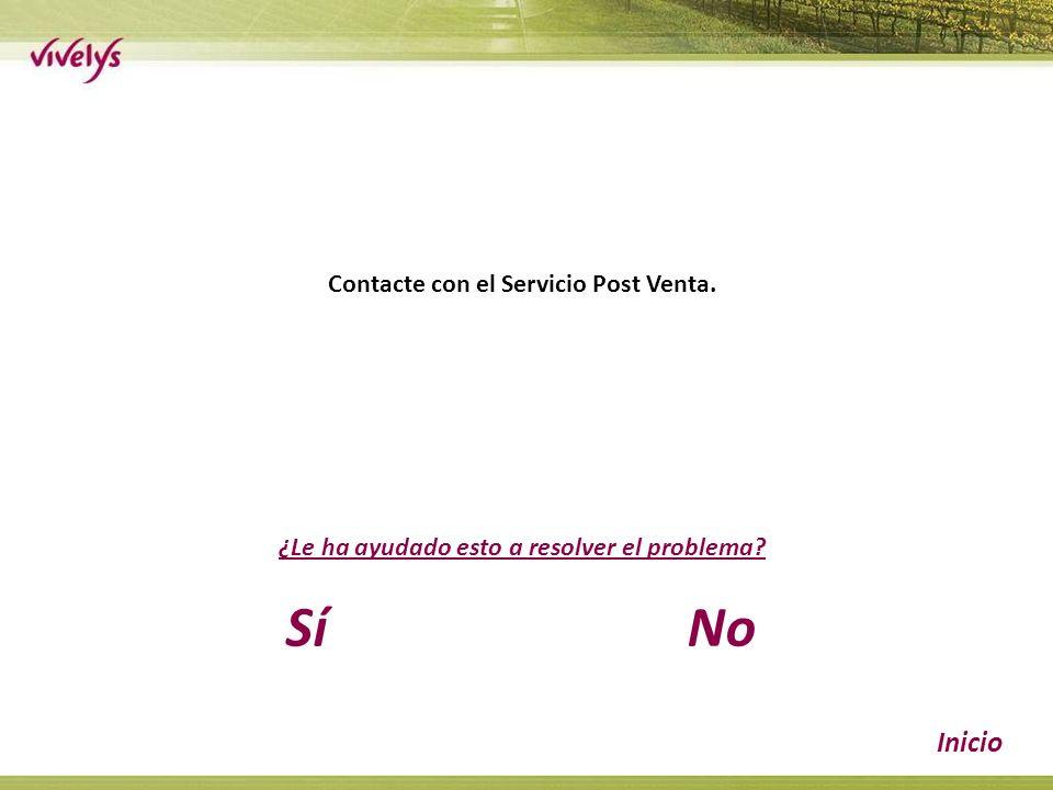 Contacte con el Servicio Post Venta. ¿Le ha ayudado esto a resolver el problema SíNo Inicio