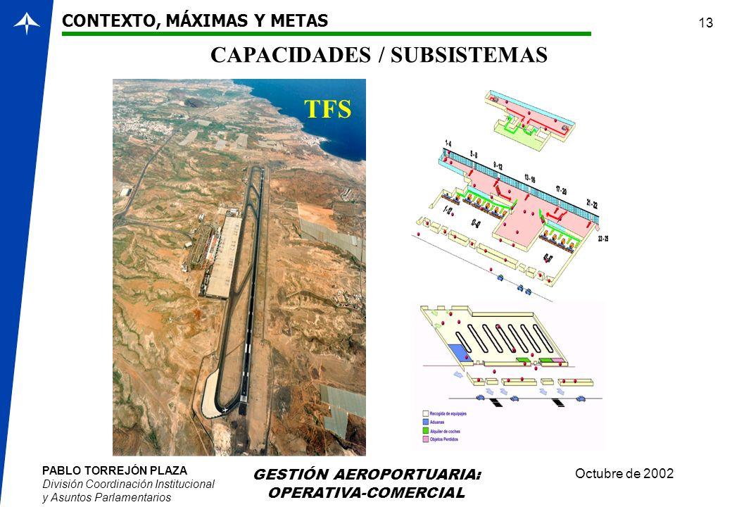 PABLO TORREJÓN PLAZA División Coordinación Institucional y Asuntos Parlamentarios Octubre de 2002 GESTIÓN AEROPORTUARIA: OPERATIVA-COMERCIAL 13 CONTEX