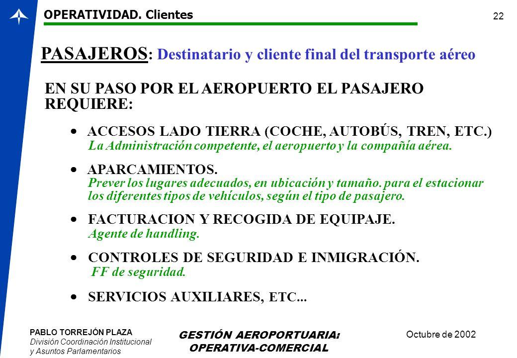 PABLO TORREJÓN PLAZA División Coordinación Institucional y Asuntos Parlamentarios Octubre de 2002 GESTIÓN AEROPORTUARIA: OPERATIVA-COMERCIAL 22 PASAJE