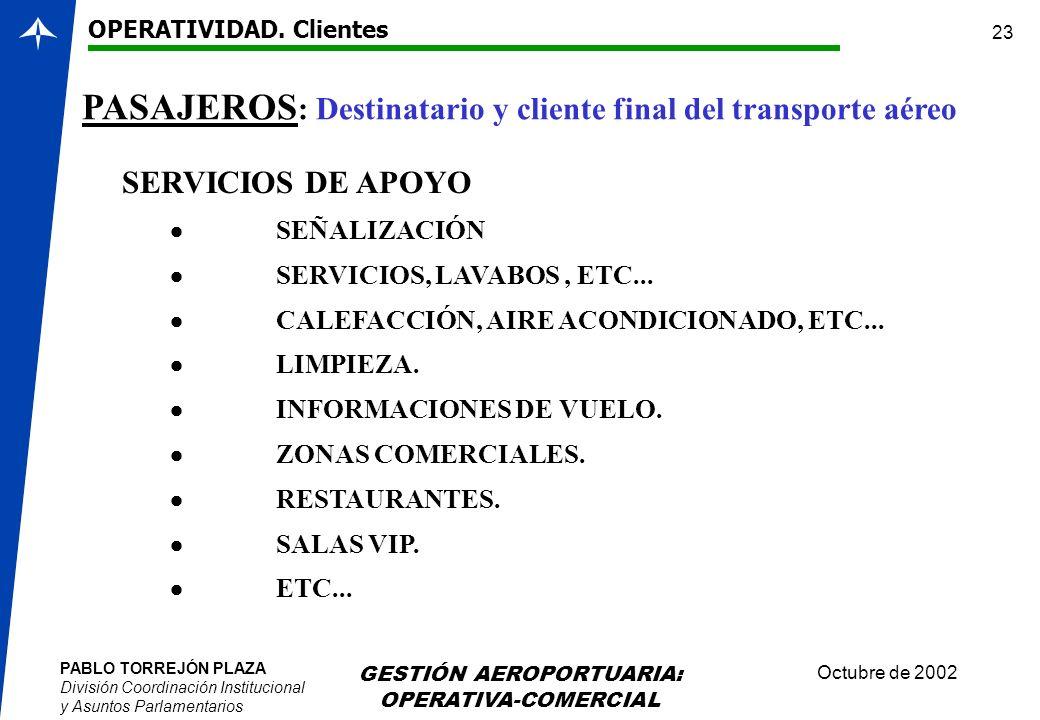 PABLO TORREJÓN PLAZA División Coordinación Institucional y Asuntos Parlamentarios Octubre de 2002 GESTIÓN AEROPORTUARIA: OPERATIVA-COMERCIAL 23 SERVIC