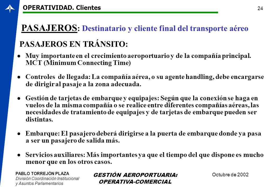 PABLO TORREJÓN PLAZA División Coordinación Institucional y Asuntos Parlamentarios Octubre de 2002 GESTIÓN AEROPORTUARIA: OPERATIVA-COMERCIAL 24 PASAJE