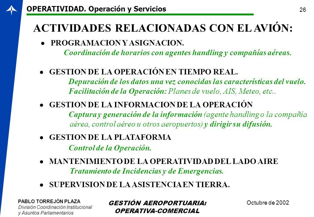 PABLO TORREJÓN PLAZA División Coordinación Institucional y Asuntos Parlamentarios Octubre de 2002 GESTIÓN AEROPORTUARIA: OPERATIVA-COMERCIAL 26 ACTIVI