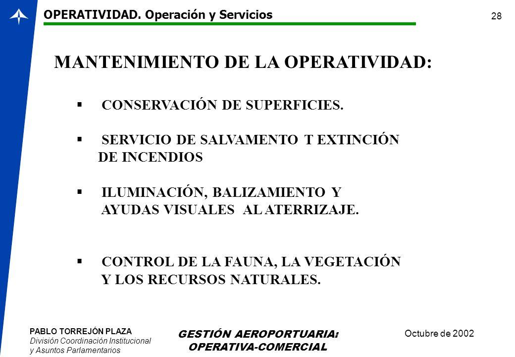 PABLO TORREJÓN PLAZA División Coordinación Institucional y Asuntos Parlamentarios Octubre de 2002 GESTIÓN AEROPORTUARIA: OPERATIVA-COMERCIAL 28 MANTEN