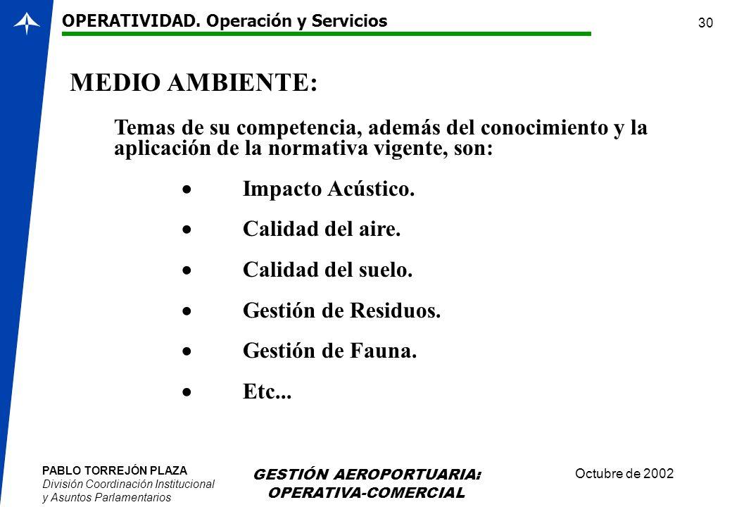 PABLO TORREJÓN PLAZA División Coordinación Institucional y Asuntos Parlamentarios Octubre de 2002 GESTIÓN AEROPORTUARIA: OPERATIVA-COMERCIAL 30 Temas
