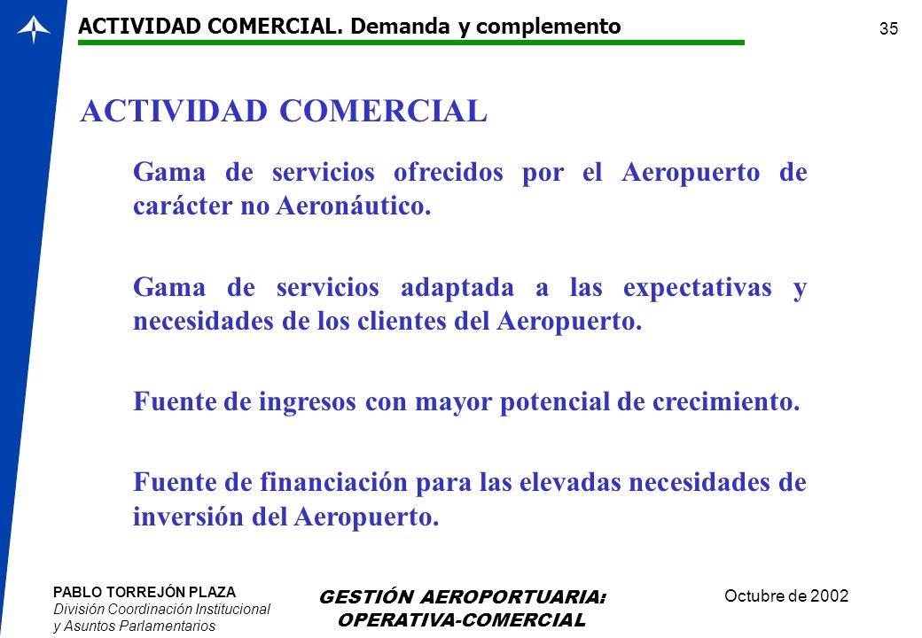 PABLO TORREJÓN PLAZA División Coordinación Institucional y Asuntos Parlamentarios Octubre de 2002 GESTIÓN AEROPORTUARIA: OPERATIVA-COMERCIAL 35 ACTIVI