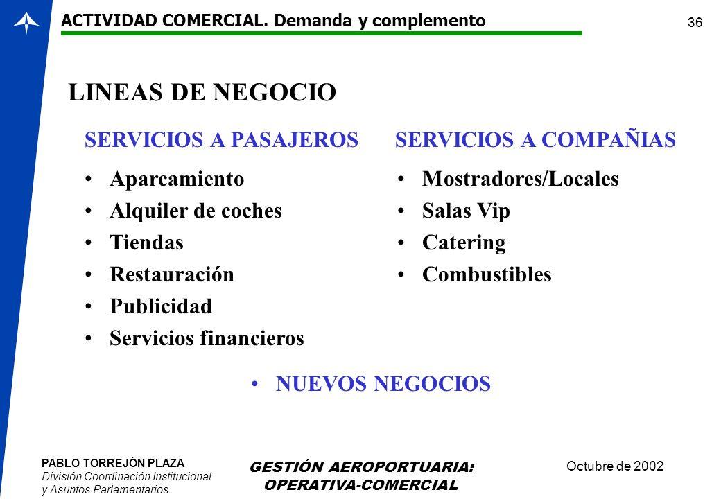 PABLO TORREJÓN PLAZA División Coordinación Institucional y Asuntos Parlamentarios Octubre de 2002 GESTIÓN AEROPORTUARIA: OPERATIVA-COMERCIAL 36 LINEAS
