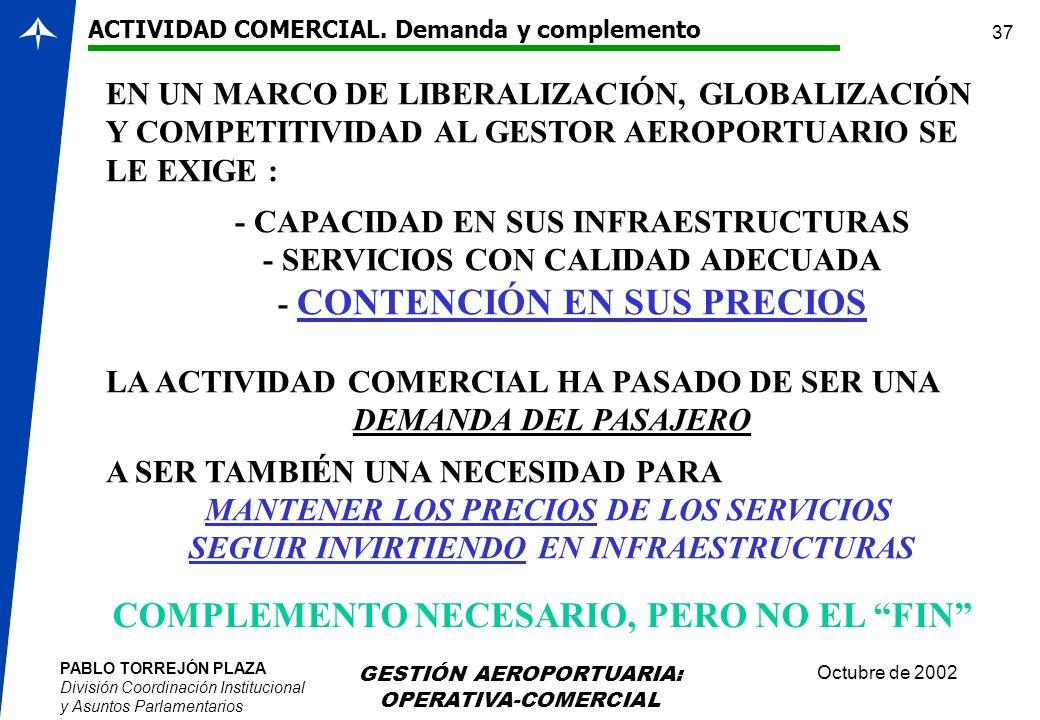 PABLO TORREJÓN PLAZA División Coordinación Institucional y Asuntos Parlamentarios Octubre de 2002 GESTIÓN AEROPORTUARIA: OPERATIVA-COMERCIAL 37 ACTIVI