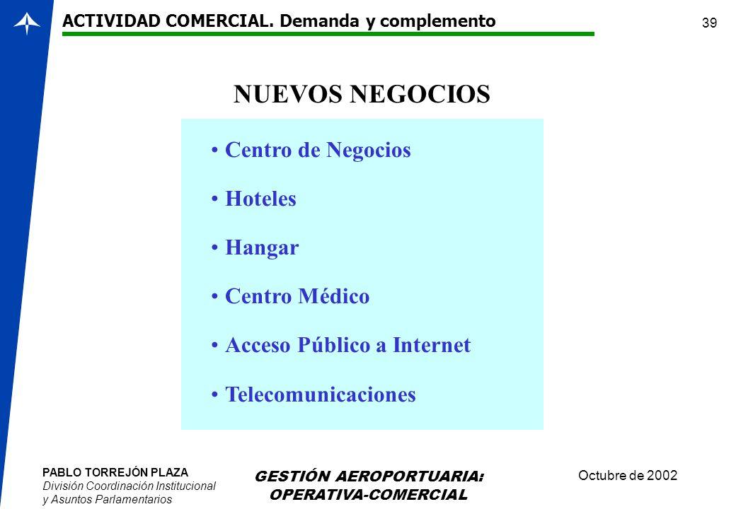 PABLO TORREJÓN PLAZA División Coordinación Institucional y Asuntos Parlamentarios Octubre de 2002 GESTIÓN AEROPORTUARIA: OPERATIVA-COMERCIAL 39 NUEVOS