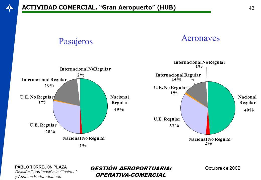 PABLO TORREJÓN PLAZA División Coordinación Institucional y Asuntos Parlamentarios Octubre de 2002 GESTIÓN AEROPORTUARIA: OPERATIVA-COMERCIAL 43 Nacion