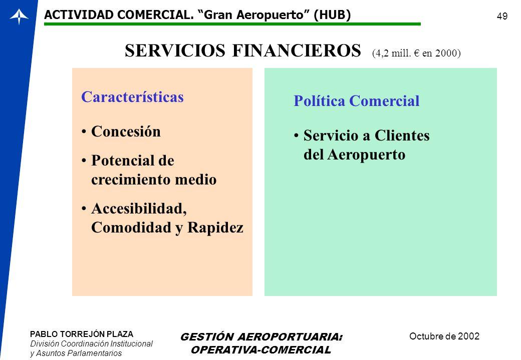PABLO TORREJÓN PLAZA División Coordinación Institucional y Asuntos Parlamentarios Octubre de 2002 GESTIÓN AEROPORTUARIA: OPERATIVA-COMERCIAL 49 SERVIC