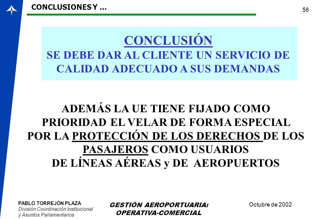 PABLO TORREJÓN PLAZA División Coordinación Institucional y Asuntos Parlamentarios Octubre de 2002 GESTIÓN AEROPORTUARIA: OPERATIVA-COMERCIAL 56 CONCLU