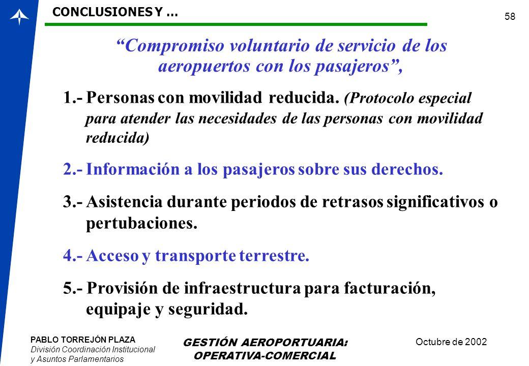 PABLO TORREJÓN PLAZA División Coordinación Institucional y Asuntos Parlamentarios Octubre de 2002 GESTIÓN AEROPORTUARIA: OPERATIVA-COMERCIAL 58 1.-Per