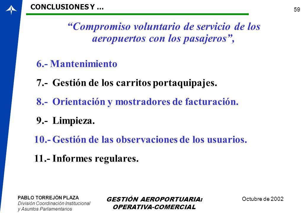 PABLO TORREJÓN PLAZA División Coordinación Institucional y Asuntos Parlamentarios Octubre de 2002 GESTIÓN AEROPORTUARIA: OPERATIVA-COMERCIAL 59 Compro