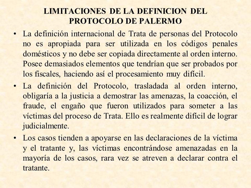 LIMITACIONES DE LA DEFINICION DEL PROTOCOLO DE PALERMO La definición internacional de Trata de personas del Protocolo no es apropiada para ser utiliza