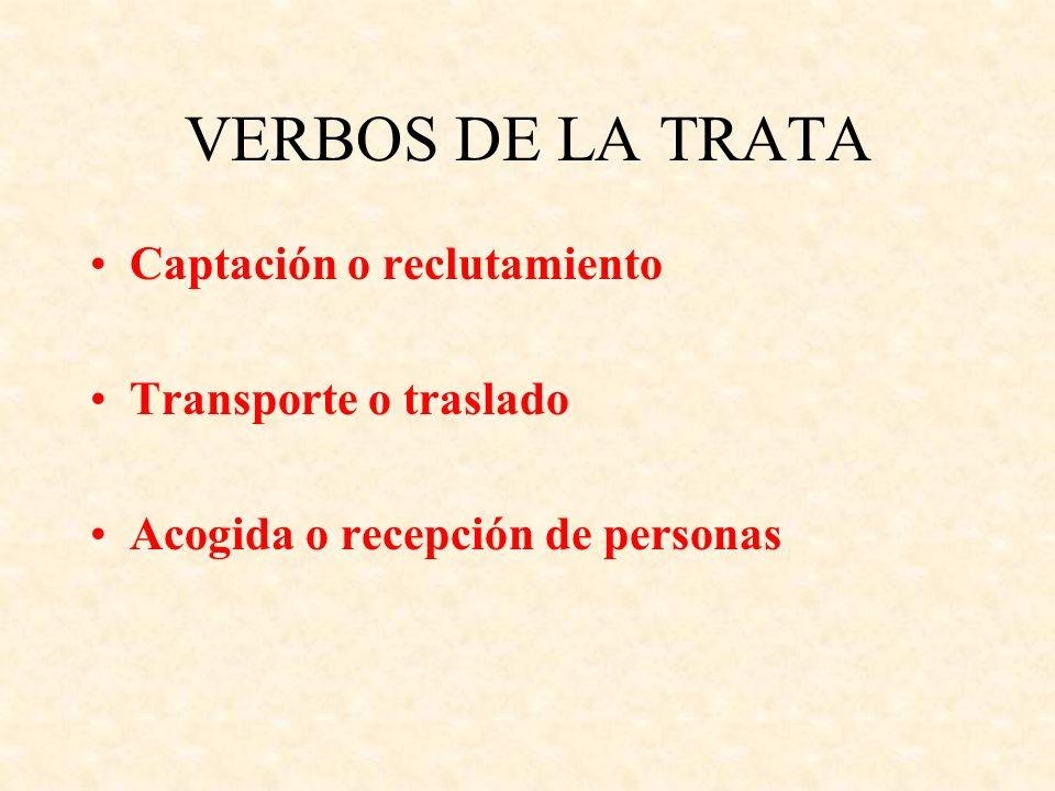 VERBOS DE LA TRATA Captación o reclutamiento Transporte o traslado Acogida o recepción de personas